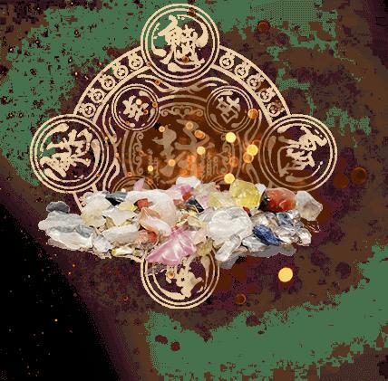 vụn đá quý trong bùa himalaya